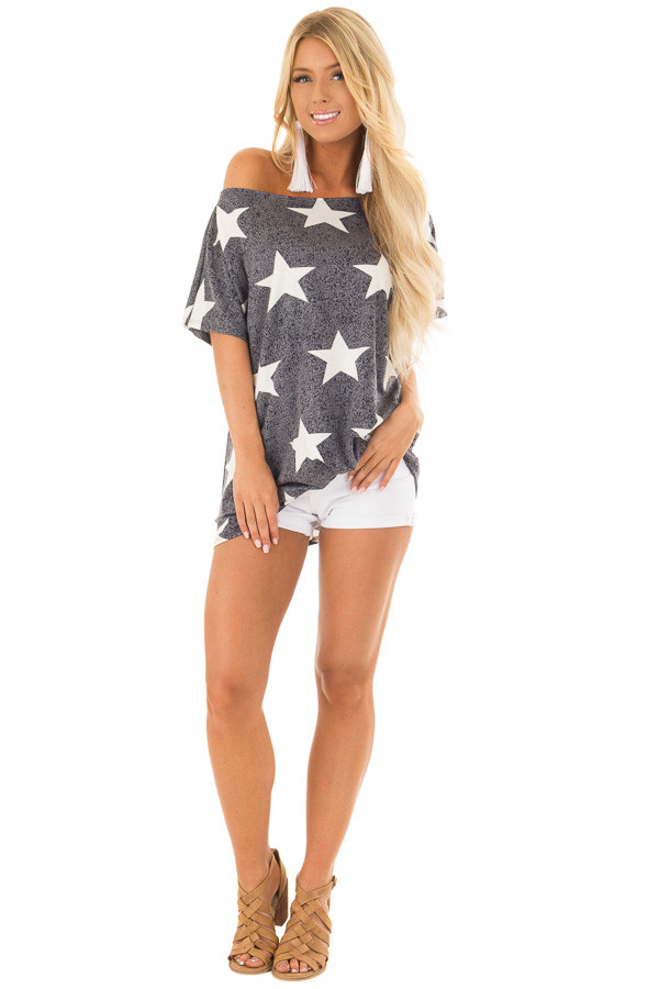 Navy Two Tone Star Print Boatneck Top with Front Twist front full body
