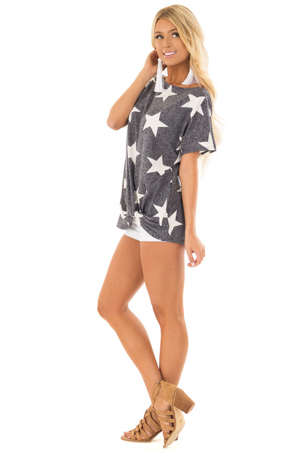 Navy Two Tone Star Print Boatneck Top with Front Twist side full body