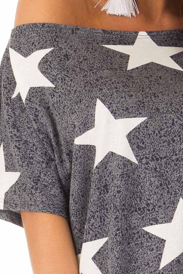 Navy Two Tone Star Print Boatneck Top with Front Twist detail
