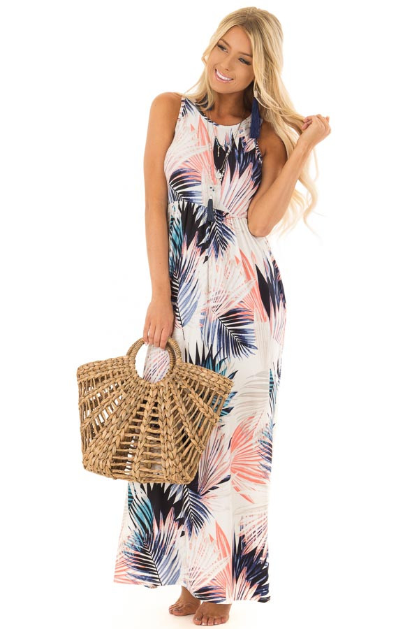 Ivory Leaf Print Maxi Dress with Side Pockets front close up