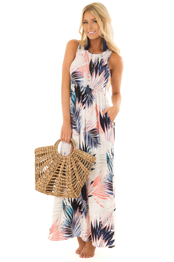 Ivory Leaf Print Maxi Dress with Side Pockets front full body
