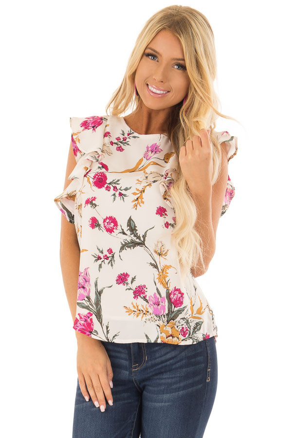 Ivory Floral Print Ruffle Sleeve Blouse with Keyhole Back front close up