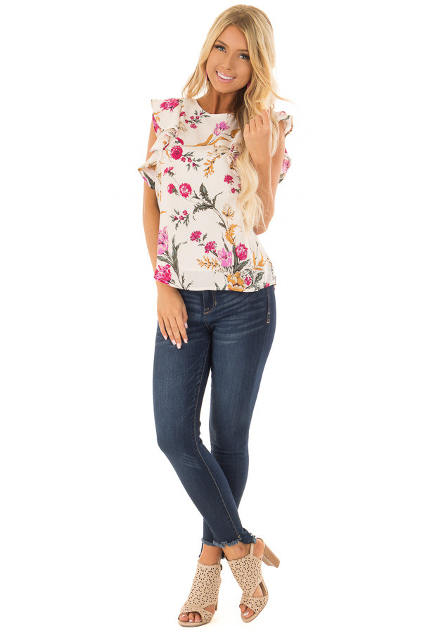 Ivory Floral Print Ruffle Sleeve Blouse with Keyhole Back front full body