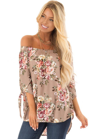 Mocha Floral Off the Shoulder Blouse with Tie Sleeve front close up