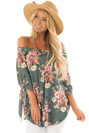 Sage Floral Off the Shoulder Blouse with Tie Sleeve front close up