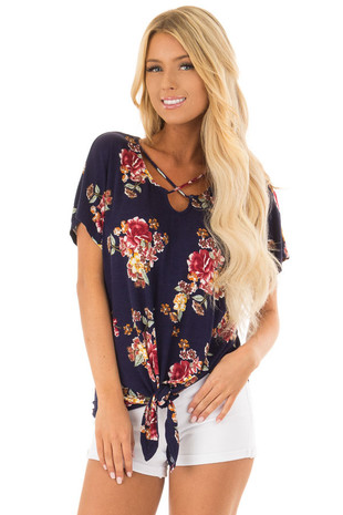 Navy Floral Criss Cross Top with Front Tie Detail front close up