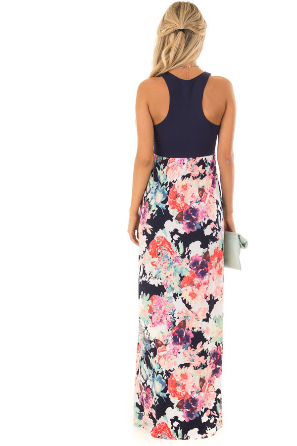 Navy and Neon Floral Racerback Maxi Dress with Pockets back full body