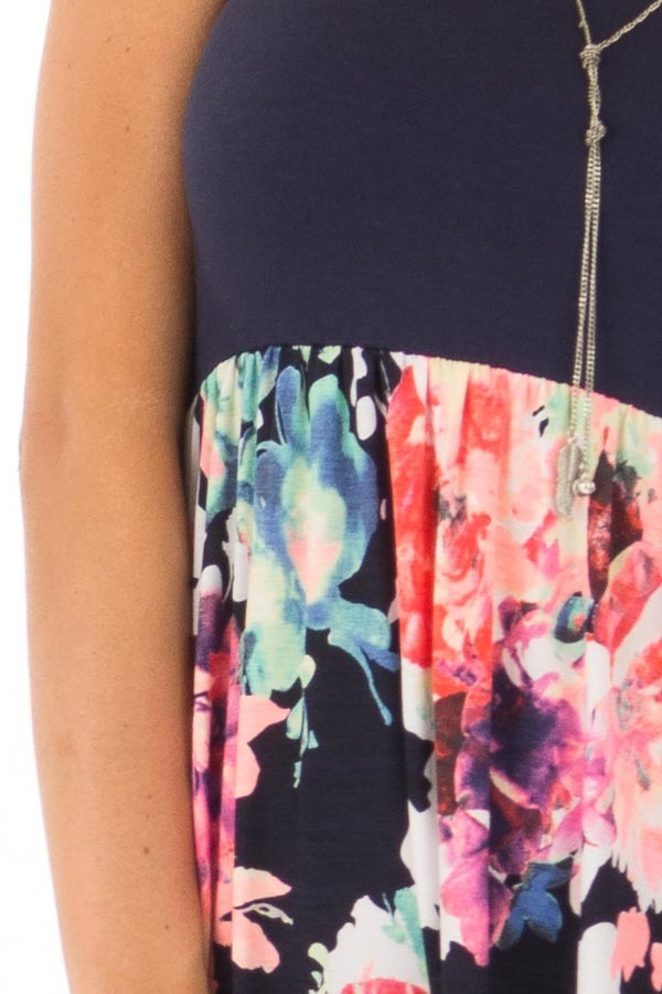 Navy and Neon Floral Racerback Maxi Dress with Pockets detail