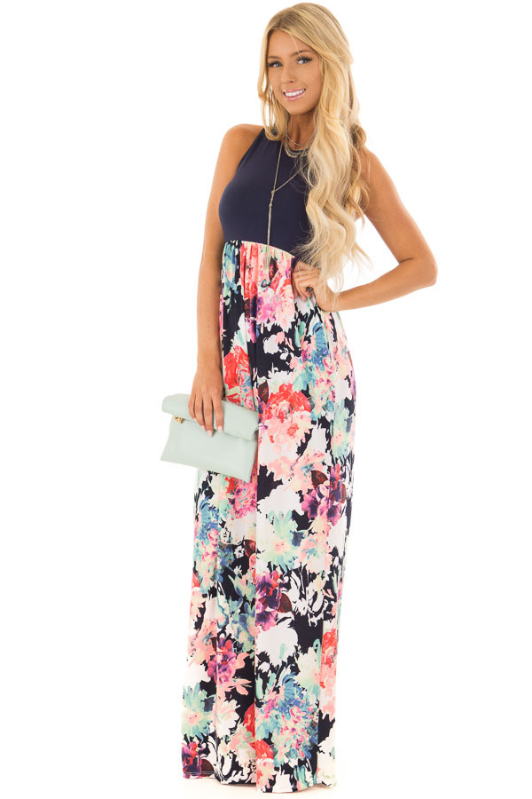 Navy and Neon Floral Racerback Maxi Dress with Pockets front full body