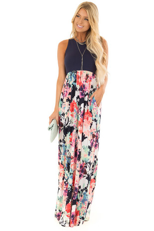 Navy and Neon Floral Razor Back Maxi Dress with Pockets front full body