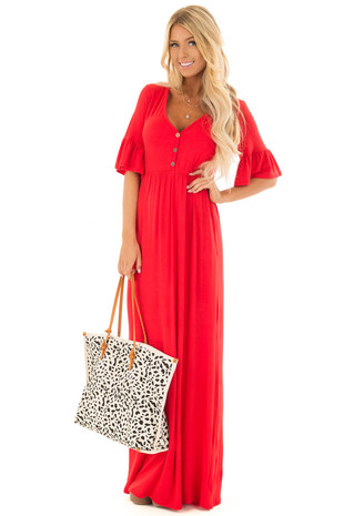 Crimson Maxi Dress with Bell Sleeves and Hidden Pockets front full body