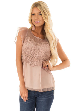 Mocha Blouse with Lace Detail and Keyhole Back front close up