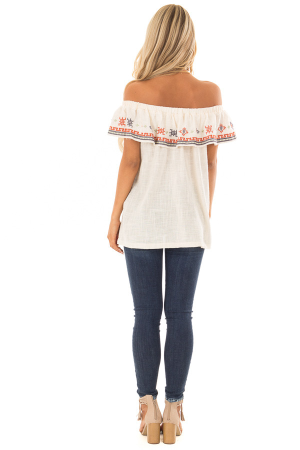 Cream Off the Shoulder Embroidered Top with Ruffle Detail back full body