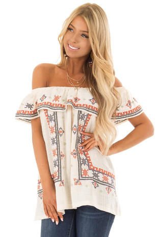 Cream Off the Shoulder Embroidered Top with Ruffle Detail front close up