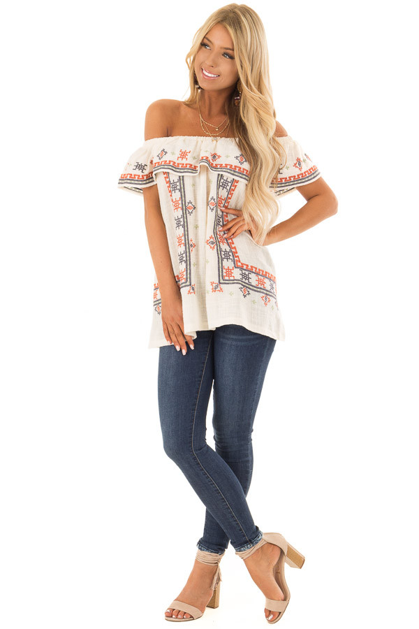 Cream Off the Shoulder Embroidered Top with Ruffle Detail front full body