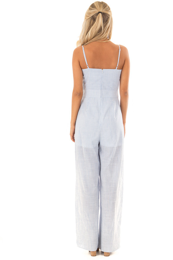Light Blue and White Striped Jumpsuit with Waist Cutout back full body