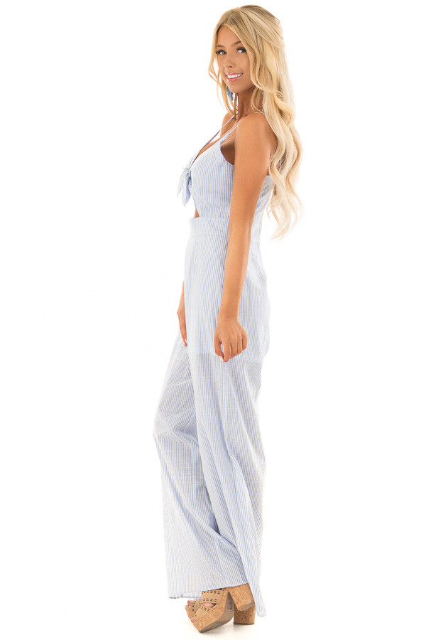 Light Blue and White Striped Jumpsuit with Waist Cutout side full body