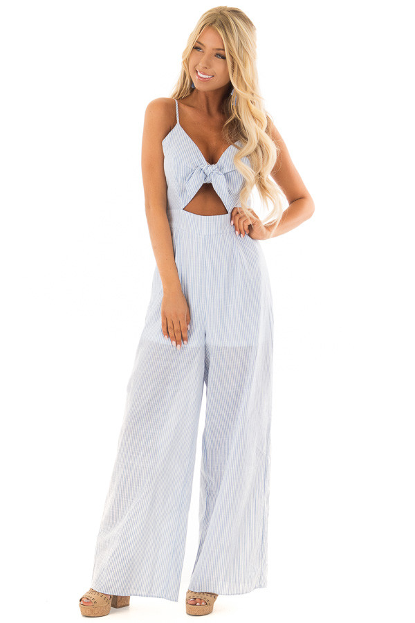 Light Blue and White Striped Jumpsuit with Waist Cutout front close up
