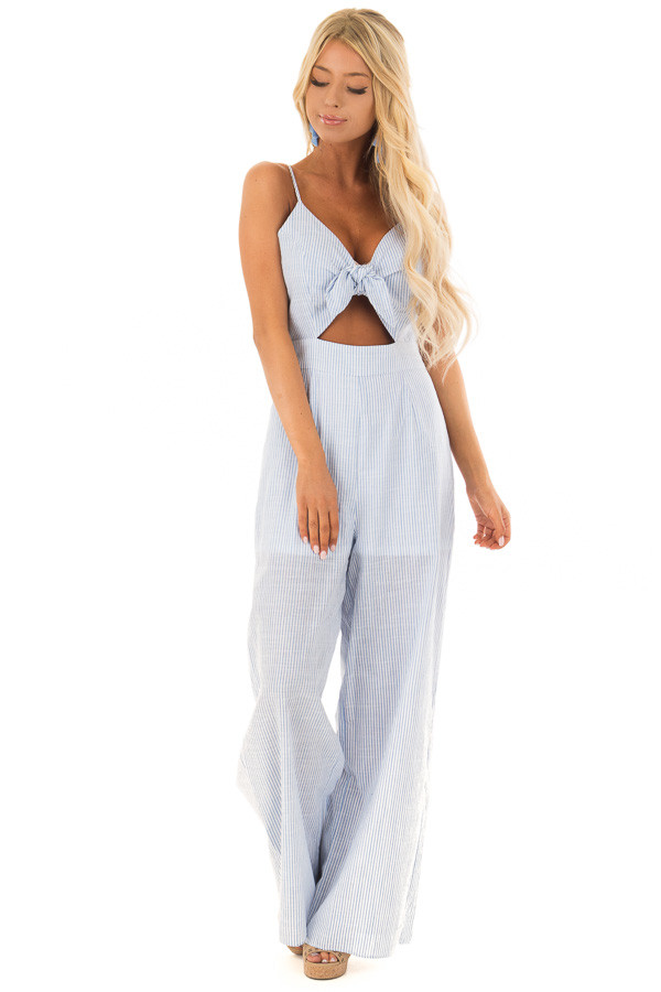 Light Blue and White Striped Jumpsuit with Waist Cutout front full body