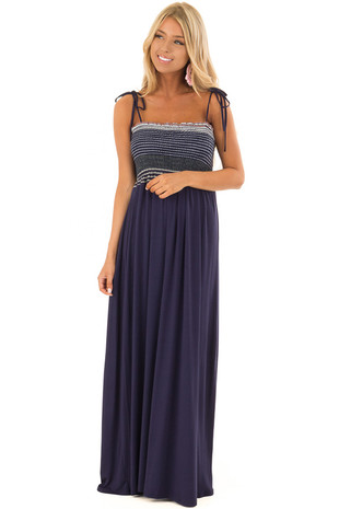 Navy Sleeveless Maxi Dress with Smocked Striped Bust front full body