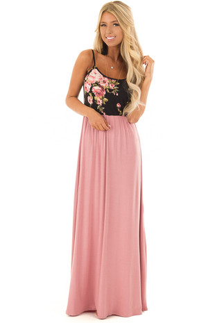 Mauve Maxi Dress with Black Floral Print Contrast front full body