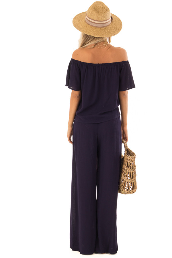 Navy Off the Shoulder Two Piece Set back full body