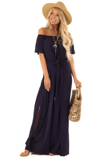 Navy Off the Shoulder Two Piece Set front full body