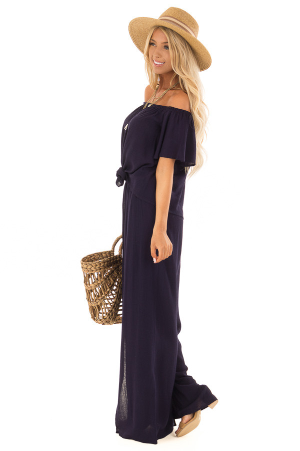 Navy Off the Shoulder Two Piece Set side full body
