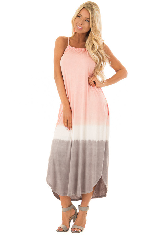 Blush Ombre Tie Dye Halter Dress with Side Pockets front full body