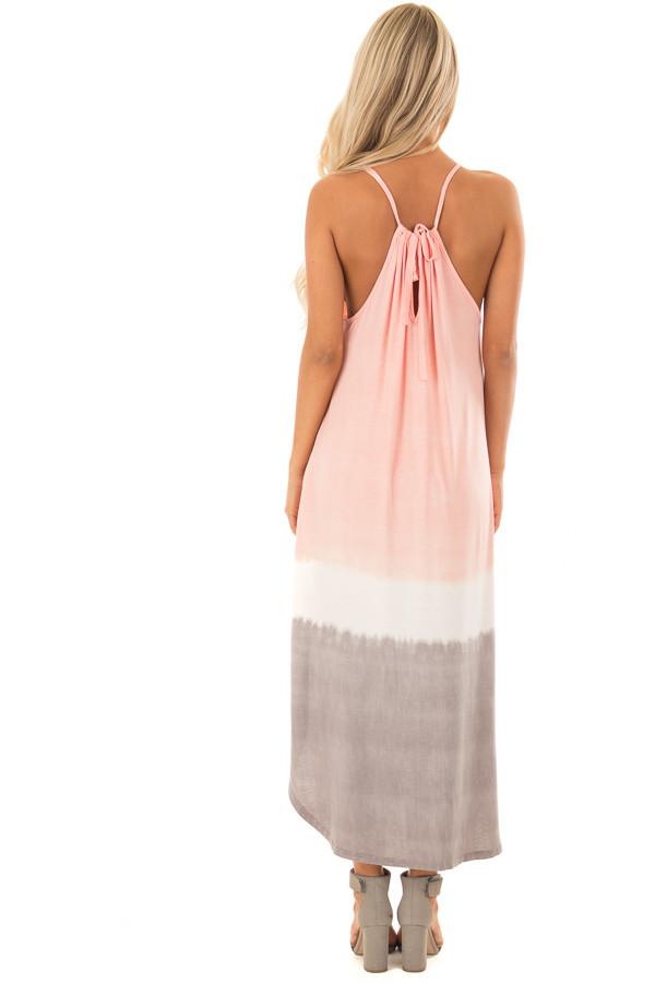 Blush Ombre Tie Dye Halter Dress with Side Pockets back full body
