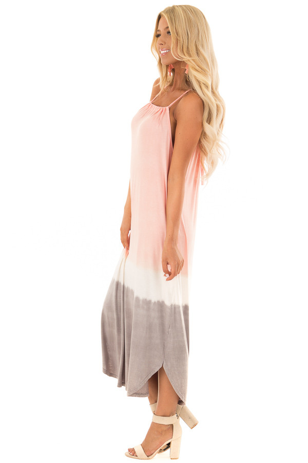 Blush Ombre Tie Dye Halter Dress with Side Pockets side full body