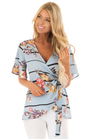 Light Blue Floral Wrap Style Short Sleeve Top front close up