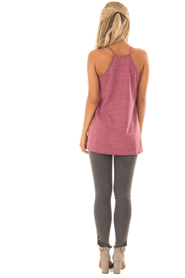 Burgundy Mineral Wash Color Block Tank Top with Front Tie back full body