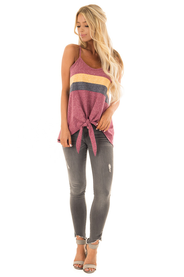 Burgundy Mineral Wash Color Block Tank Top with Front Tie front full body