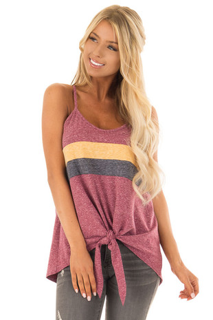 Burgundy Mineral Wash Color Block Tank Top with Front Tie front close up