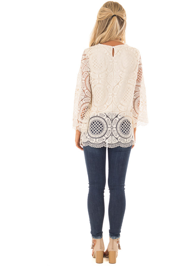 Cream 3/4 Sleeve Crochet Lace Top with Keyhole Back Detail back full body