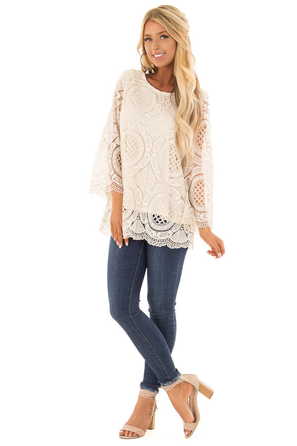 Cream 3/4 Sleeve Crochet Lace Top with Keyhole Back Detail front full body