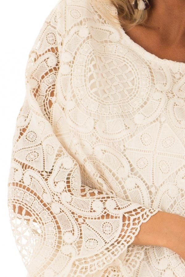 Cream 3/4 Sleeve Crochet Lace Top with Keyhole Back Detail detail