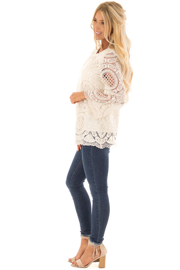 Cream 3/4 Sleeve Crochet Lace Top with Keyhole Back Detail side full body