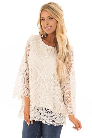 Cream 3/4 Sleeve Crochet Lace Top with Keyhole Back Detail front close up