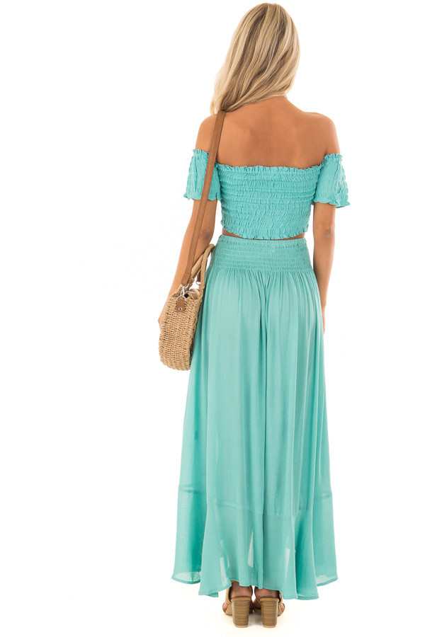 Mint Off the Shoulder Crop Top with Maxi Skirt Two Piece Set back full body