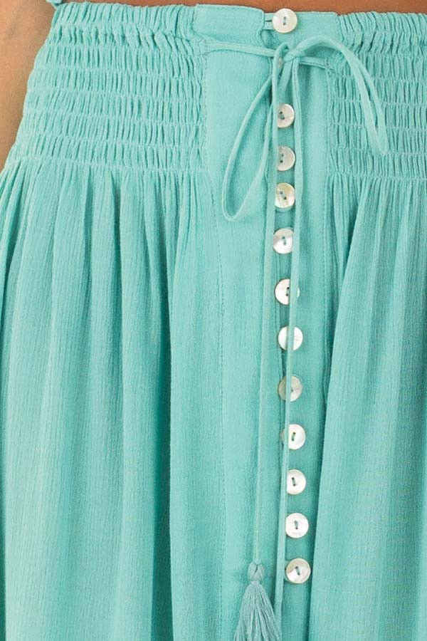 Mint Off the Shoulder Crop Top with Maxi Skirt Two Piece Set detail