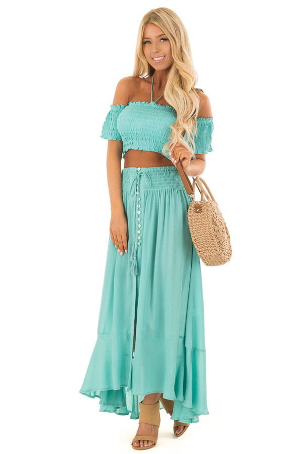 Mint Off the Shoulder Crop Top with Maxi Skirt Two Piece Set front full body