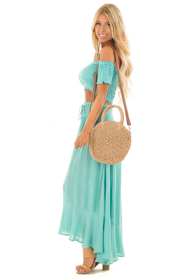 Mint Off the Shoulder Crop Top with Maxi Skirt Two Piece Set side full body