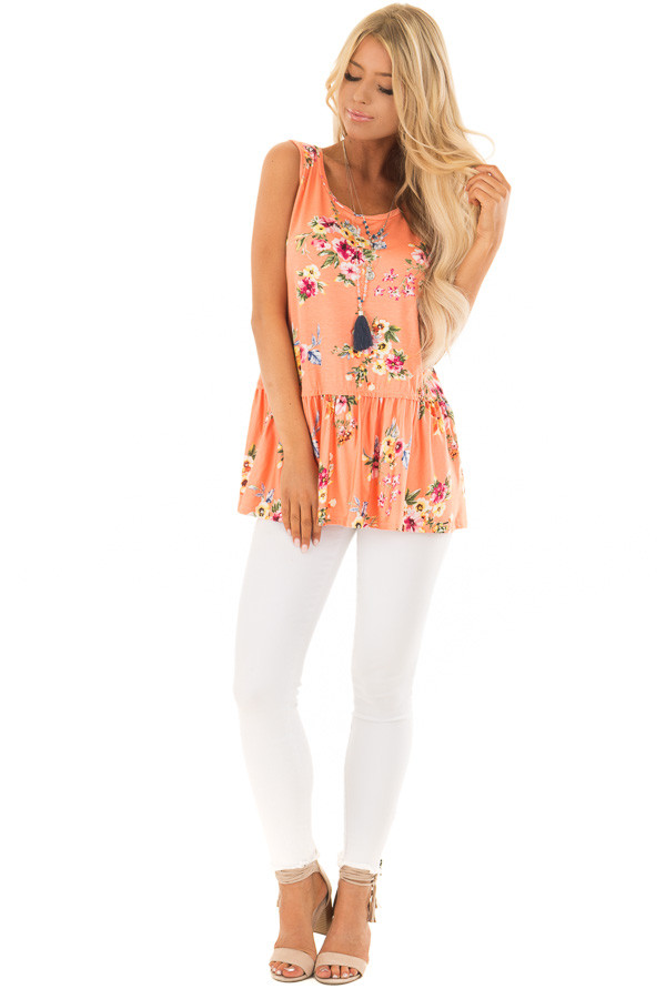 Peach Floral Tank Top with Ruffle Details front full body