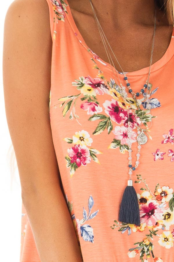 Peach Floral Tank Top with Ruffle Details detail