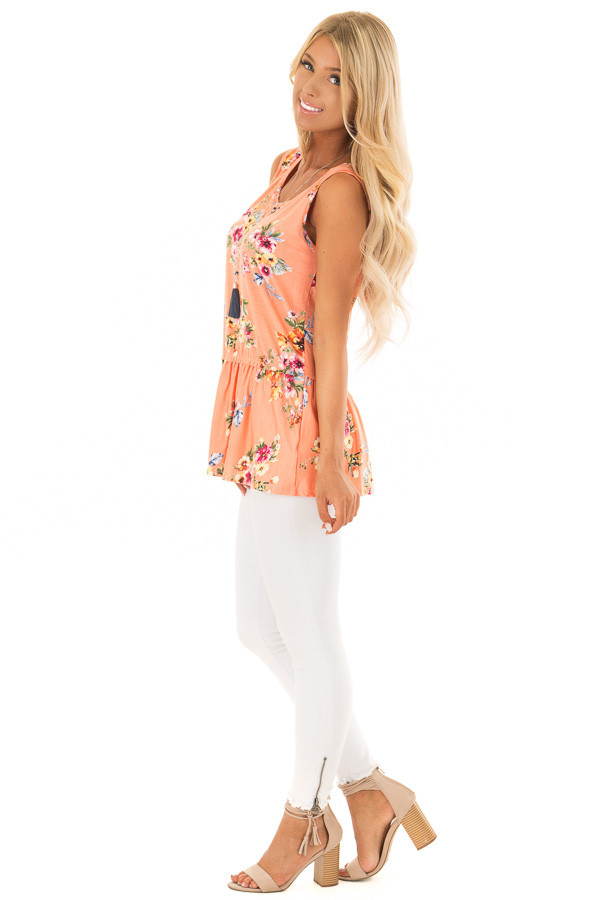 Peach Floral Tank Top with Ruffle Details side full body