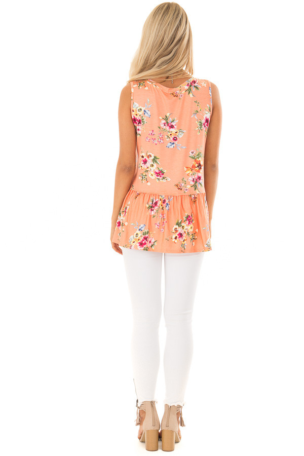 Peach Floral Tank Top with Ruffle Details back full body