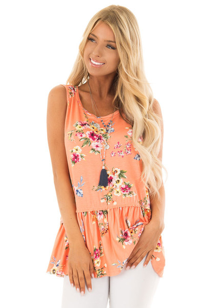 Peach Floral Tank Top with Ruffle Details front close up
