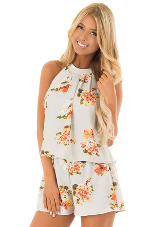 Stormy Blue Grey Floral Romper with Halter Neckline front close up
